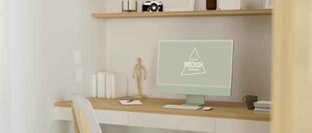 Computador com monitor de tela em branco em design de espaço de trabalho japonês aconchegante renderização em 3d