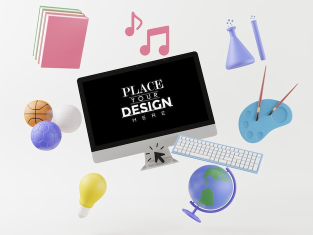 Computador com tela em branco com elementos flutuantes Psd Premium