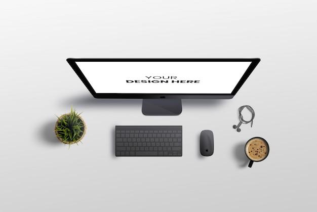 Computador de mesa view mockup