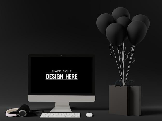 Computador de tela em branco com balões pretos e sacolas de compras