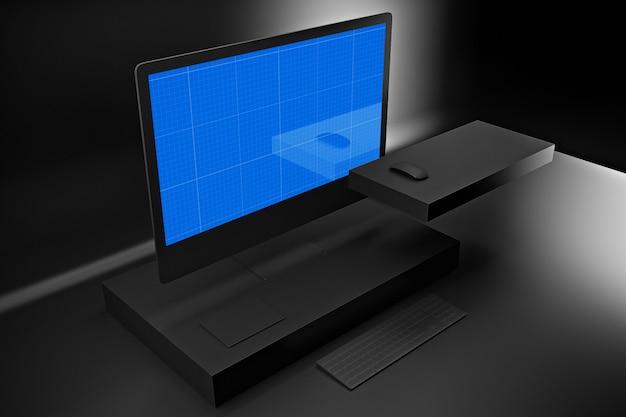 Computador escuro pro mockup
