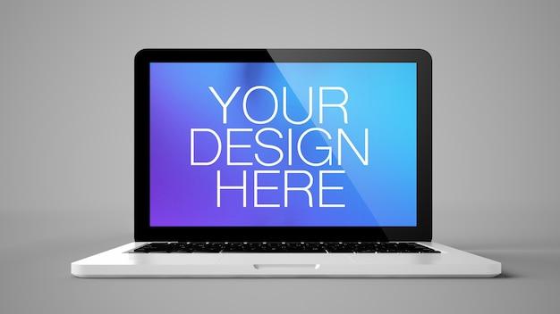 Computador laptop em simulação de fundo cinza