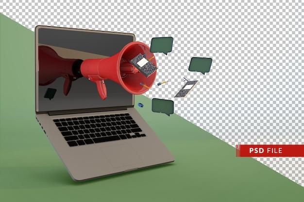 Computador moderno com megafone e acessórios para estudantes, conceito 3d de volta às aulas
