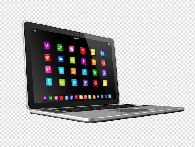 Computador portátil com ícones de aplicativos