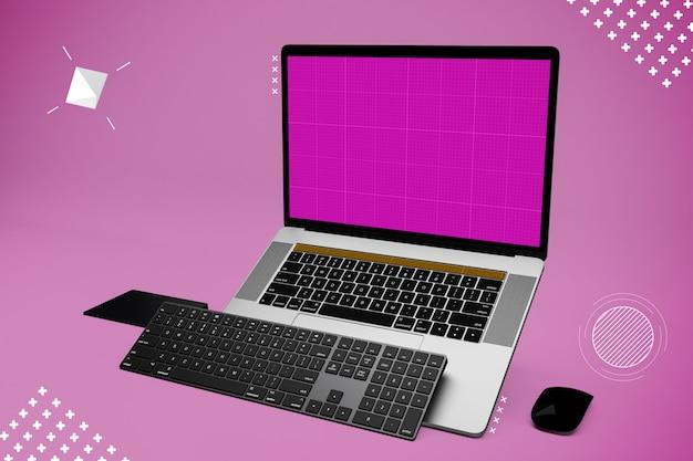 Computador portátil com tela de maquete e teclado adicional