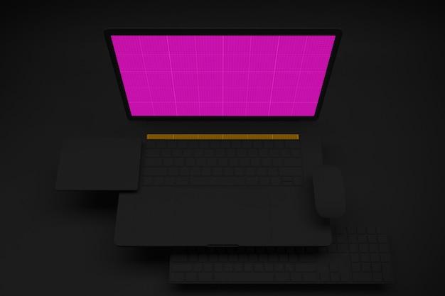 Computador portátil com tela de maquete no quarto preto