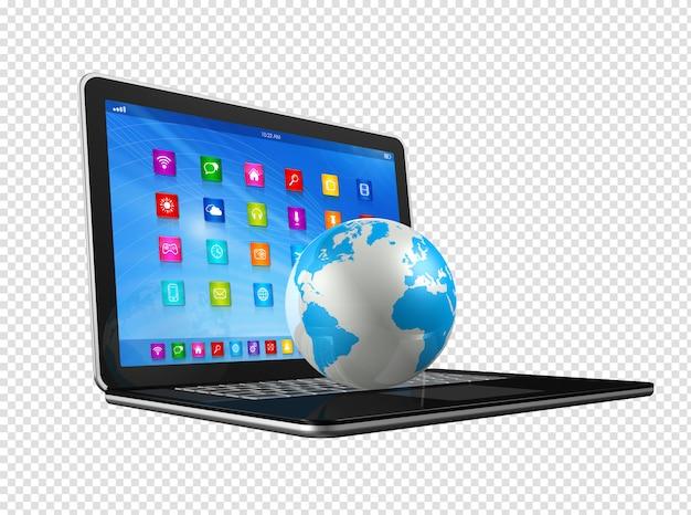Computador portátil e globo do mundo