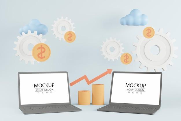 Computadores portáteis de tela em branco com moedas e engrenagens