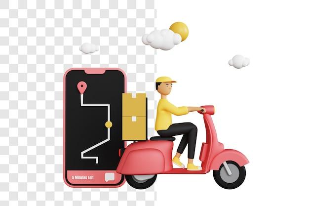 Conceito 3d de correio entregando pacotes com mapas digitais
