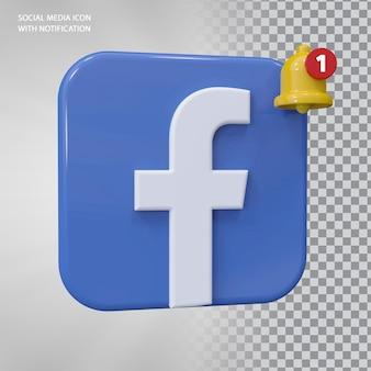 Conceito 3d do ícone do facebook com notificação de campainha