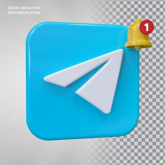 Conceito 3d do ícone do telegrama com notificação de campainha