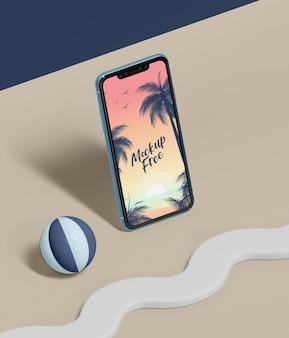 Conceito abstrato de verão com telefone