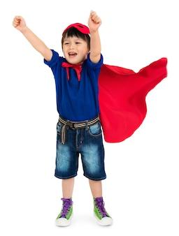 Conceito alegre do traje do carnaval do menino do super-herói