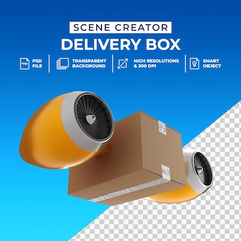 Conceito criativo 3d caixa de entrega rápida isolada