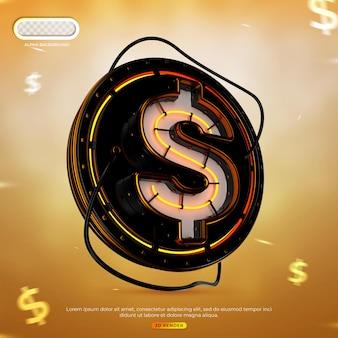 Conceito criativo cifrão ícone do logotipo 3d render