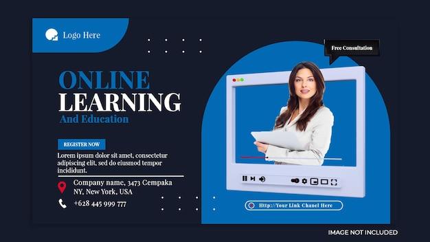 Conceito criativo de aprendizagem on-line e modelo de postagem de mídia social