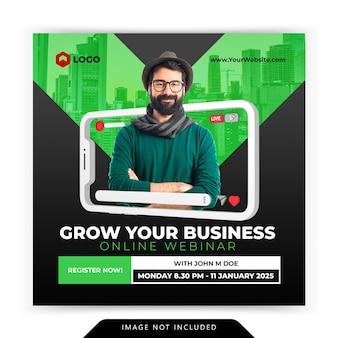 Conceito criativo de mídia social instagram ao vivo para modelo de workshop digital