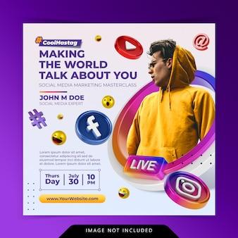 Conceito criativo de mídia social instagram live para modelo de promoção de marketing digital
