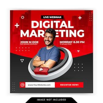 Conceito criativo de mídia social instagram live para modelo de workshop de promoção de marketing digital