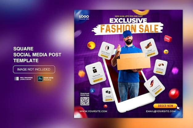 Conceito criativo de promoção de compras on-line de venda em flash na postagem de mídia social