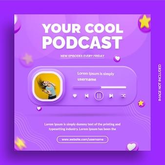 Conceito criativo de promoção de podcast em mídia social modelo de post instagram