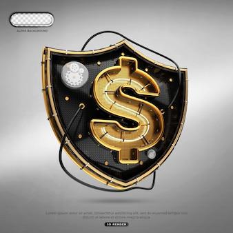 Conceito criativo do ícone do logotipo do cifrão de segurança 3d render