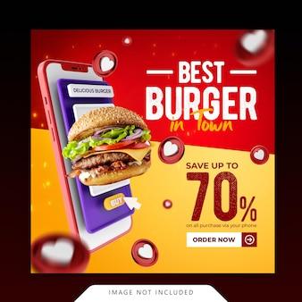 Conceito criativo hambúrguer menu promoção instagram modelo de banner de mídia social