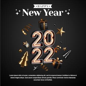 Conceito criativo instagram feed post de mídia social feliz ano novo 2022 com ilustrações 3d render
