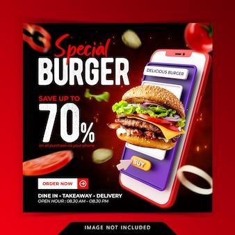 Conceito criativo menu especial de hambúrguer para modelo de banner de mídia social de promoção de pagamento digital