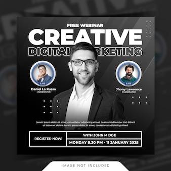 Conceito criativo modelo de postagem de mídia social para workshop de transmissão ao vivo