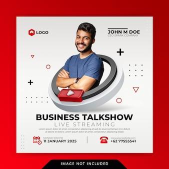 Conceito criativo oficina de streaming ao vivo instagram post modelo de promoção de marketing de mídia social