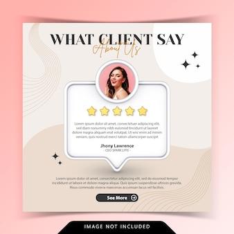 Conceito criativo para feedback satisfeito, testemunho do cliente, mídia social, modelo de postagem no instagram