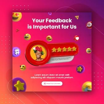Conceito criativo revisão de feedback e classificação por estrelas para modelo de post no instagram de mídia social