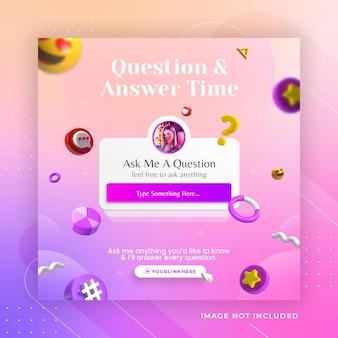 Conceito criativo tempo de perguntas e respostas para modelo de post instagram em mídia social