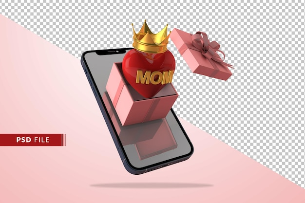Conceito de amor digital para o dia das mães com caixa de presente em renderização 3d Psd Premium