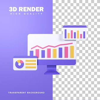 Conceito de análise de dados de renderização 3d com gráfico de barras na tela.