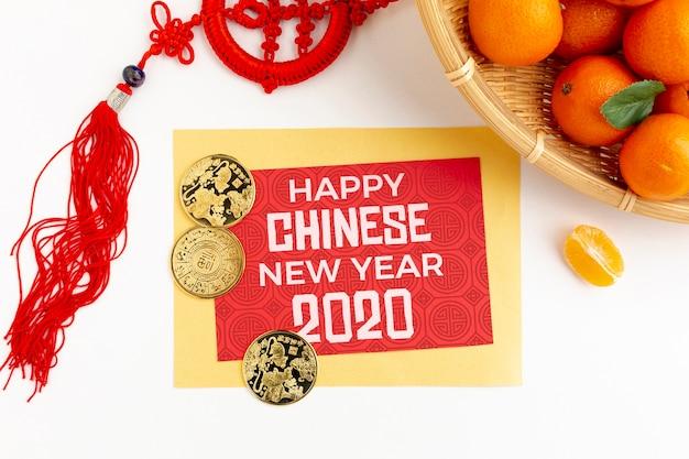Conceito de ano novo chinês com laranja