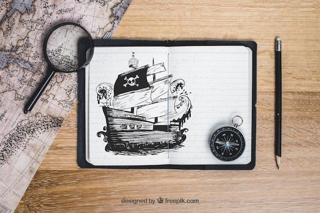 Conceito de barco pirata