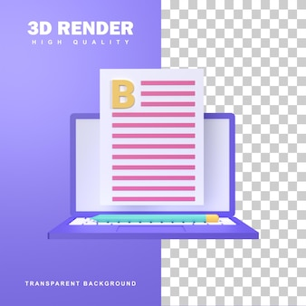Conceito de blogging de renderização 3d por meio da criação do conteúdo mais recente.