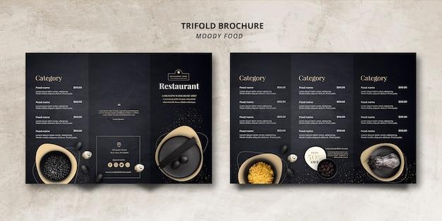Conceito de brochura com três dobras de restaurante de comida temperamental