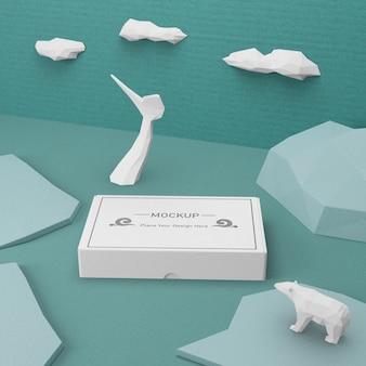 Conceito de caixa de papelão dia do oceano