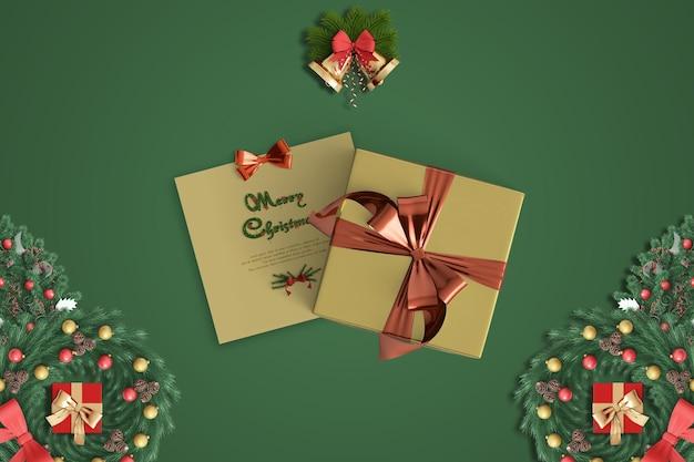 Conceito de caixas de presente com cartão quadrado