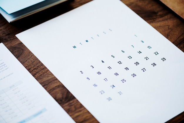 Conceito de calendário de negócios