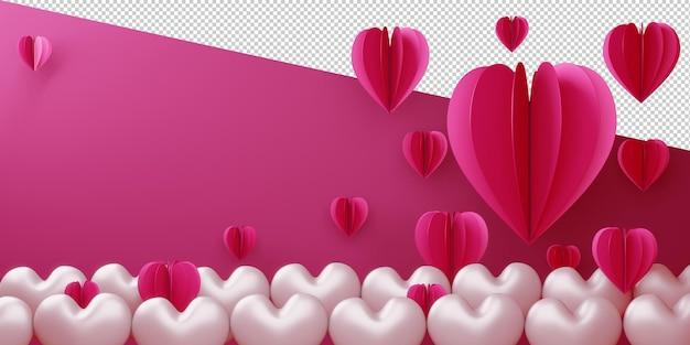 Conceito de cartão de amor dos namorados em renderização 3d