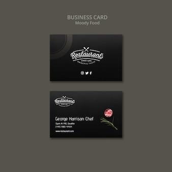 Conceito de cartão de visita de restaurante de comida temperamental