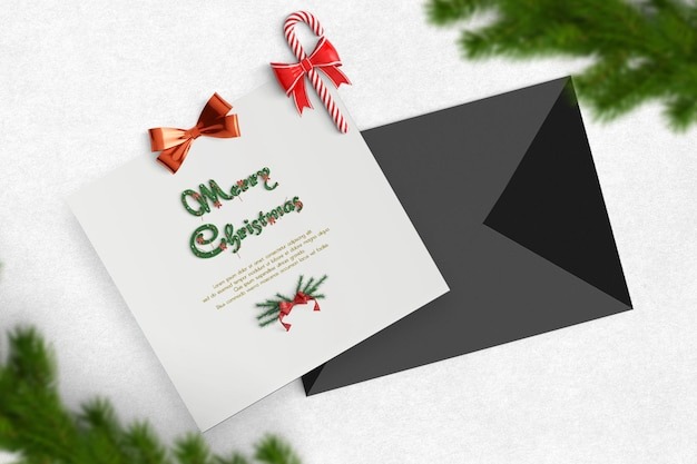 Conceito de cartão quadrado com envelope.