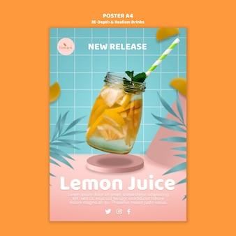 Conceito de cartaz de bebidas de profundidade e realismo 3d