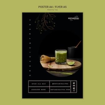 Conceito de cartaz de chá matcha saudável