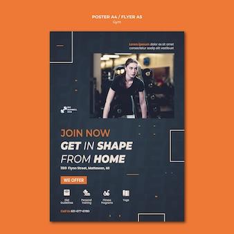 Conceito de cartaz de design de modelo de ginásio