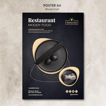 Conceito de cartaz de restaurante de comida temperamental